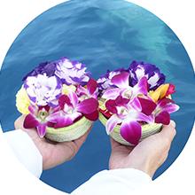 海洋葬業者の流れにおける献花