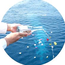海洋葬業者の流れにおける献水・献酒