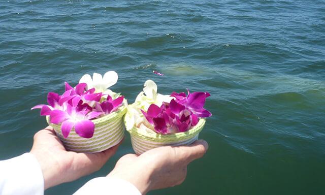 神戸(兵庫県)での散骨の献花