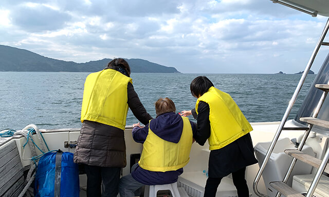 福岡県能古島沖での海洋散骨