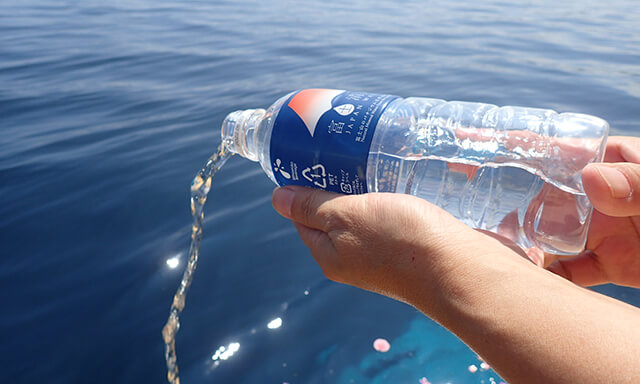 駿河湾での散骨の献水