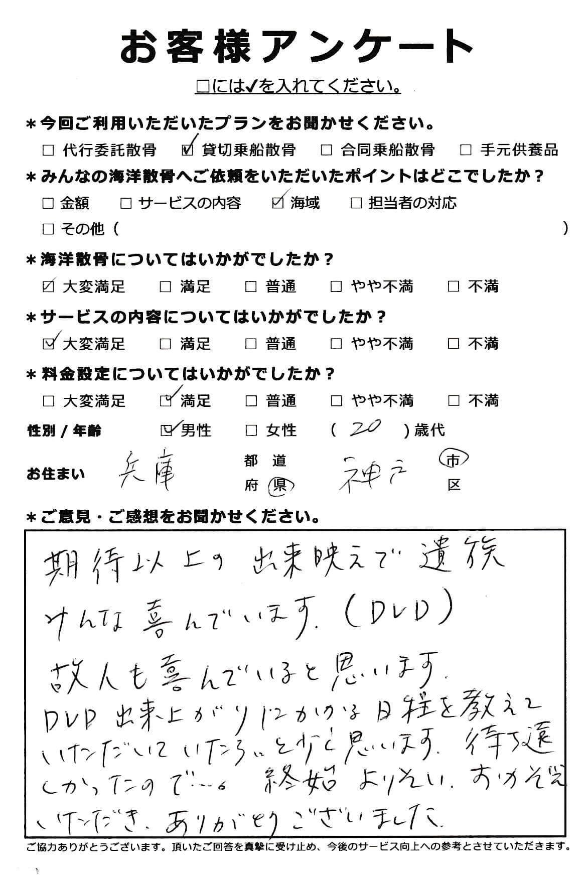 兵庫県 神戸市 20代男性 貸切乗船散骨