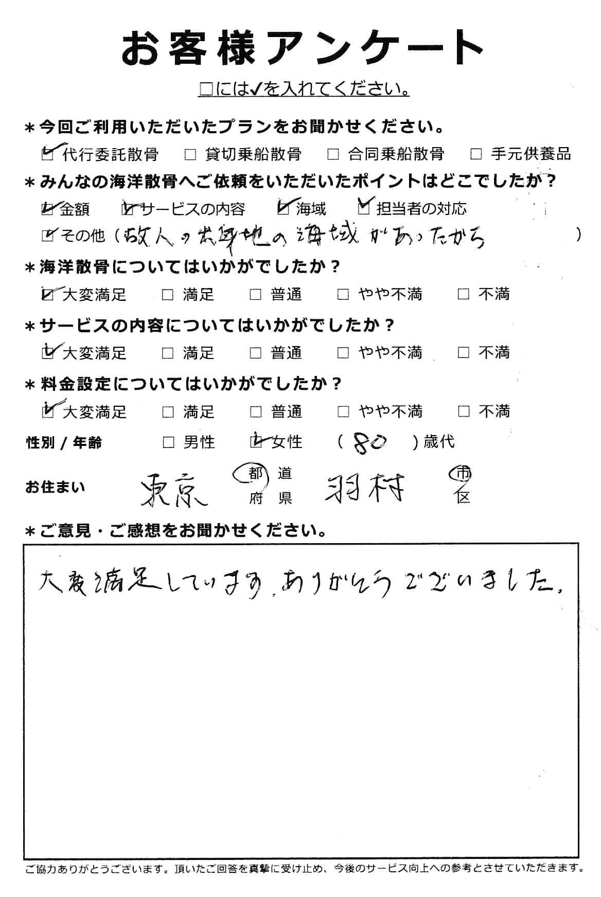 東京都羽村市 80代女性 代行委託散骨